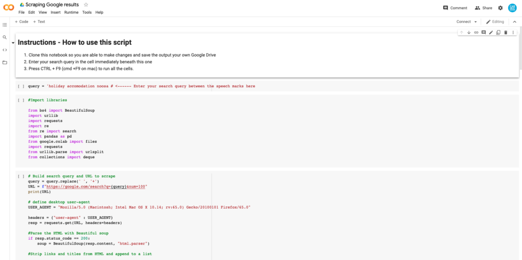 screenshot of a tool for scraping email addresses from google